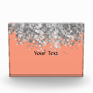 Peach and faux glitter personalized award