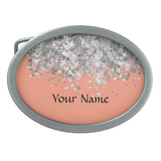 Peach and faux glitter personalized belt buckle
