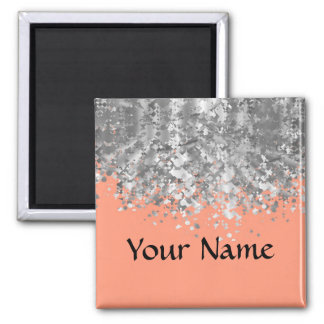 Peach and faux glitter personalized magnet