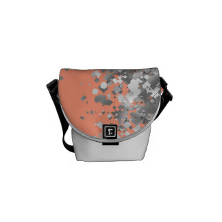 Peach and faux glitter personalized messenger bag