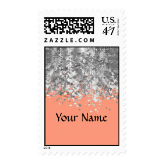 Peach and faux glitter personalized postage