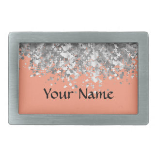 Peach and faux glitter personalized rectangular belt buckle