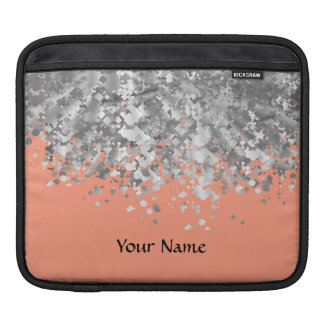 Peach and faux glitter personalized sleeve for iPads
