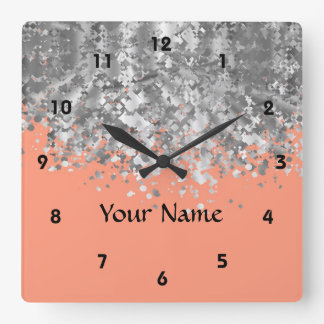 Peach and faux glitter personalized square wall clock