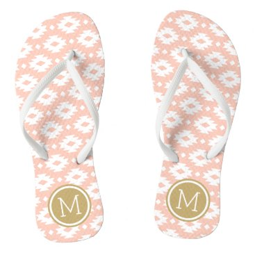 Aztec Themed Peach and Gold Aztec Monogram Flip Flops