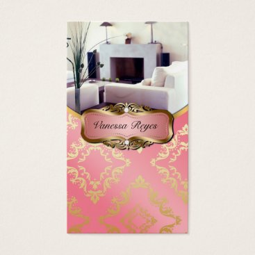 Professional Business Peach and Gold Damask Photo Business Card