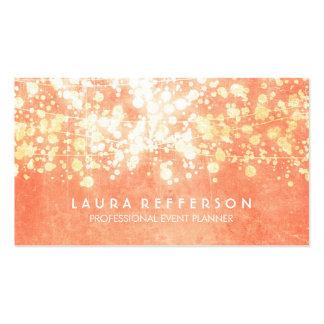 Peach and Gold Faux Foil Confetti Business Card