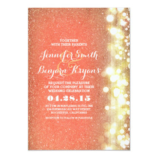 Lovely Peach And Gold Glitter Lights Wedding Card