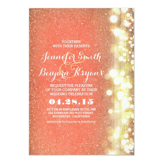 Peach And Gold Glitter Lights Wedding Invitation