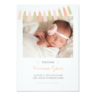 Peach and Gold Glitter Tassel Birth Announcements
