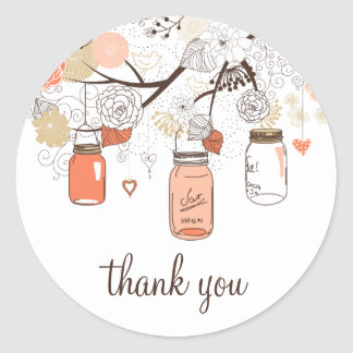 Peach and Gold Mason Jars Spring Thank You Sticker