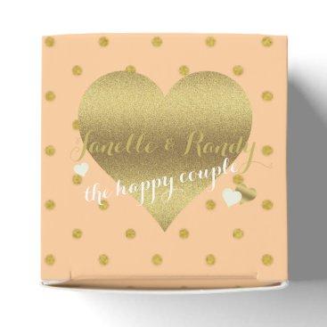 McTiffany Tiffany Aqua Peach And Gold Polka Dots Party Favor Boxes