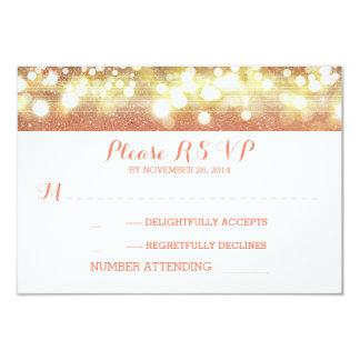 peach and gold string lights glitter wedding RSVP Card