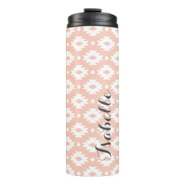Aztec Themed Peach and Gray Aztec Monogram Thermal Tumbler