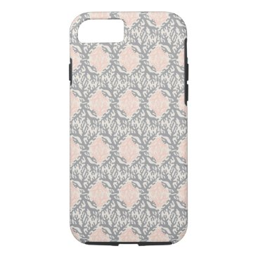 Beach Themed Peach and Gray Coral Damask iPhone 7 Case