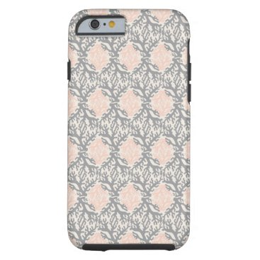 Beach Themed Peach and Gray Coral Damask Tough iPhone 6 Case
