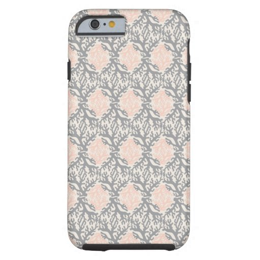 Peach and Gray Coral Damask Tough iPhone 6 Case