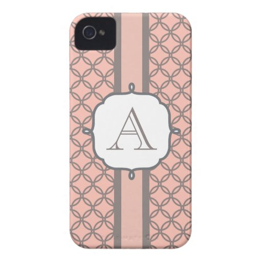 Peach and Gray  Monogrammed iPhone Case Mate iPhone 4 Case-Mate Cases
