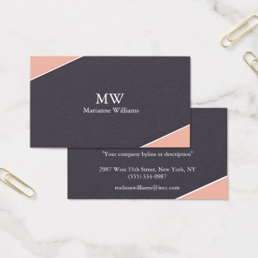 Professional Business Peach and Gray Women's Professional Business Card