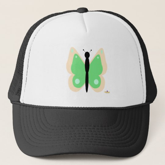 Peach And Green Butterfly Trucker Hat
