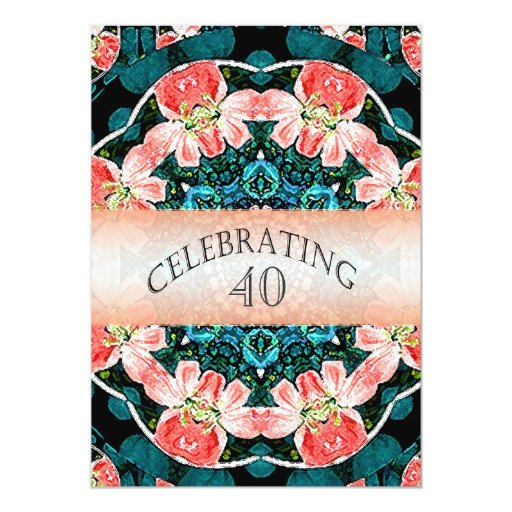 """Peach and Green Floral Party Invitations 5"""" X 7"""" Invitation Card"""