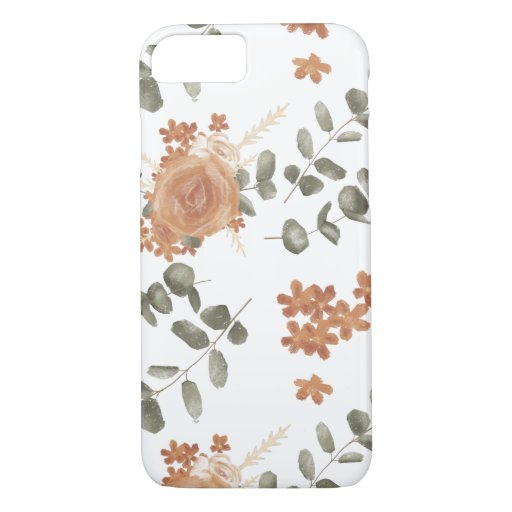 Peach and Green Floral Phone Case