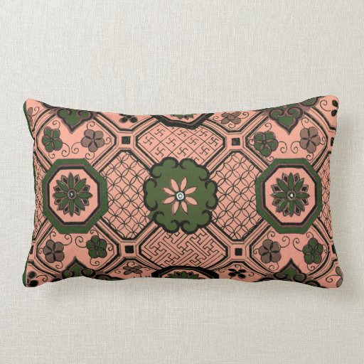 Peach and green geometric  mojo pillow