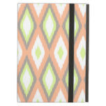Peach and Green Ikat Pattern iPad Folio Cases
