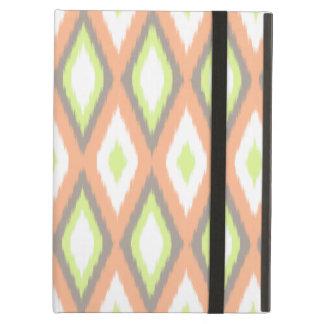Peach and Green Ikat Pattern iPad Folio Cases