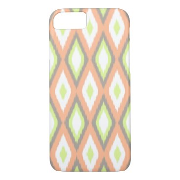 Aztec Themed Peach and Green Ikat Pattern iPhone 7 Case