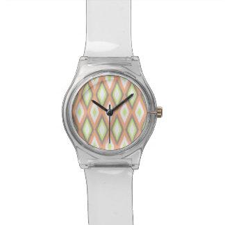 Peach and Green Ikat Pattern Wrist Watches