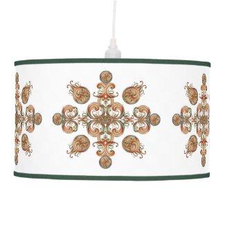 Peach and Green Ribbon Abstract Hanging Lamp