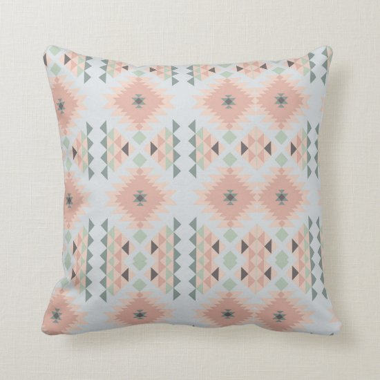 Peach and Green Southwest Tribal Pattern Throw Pillow