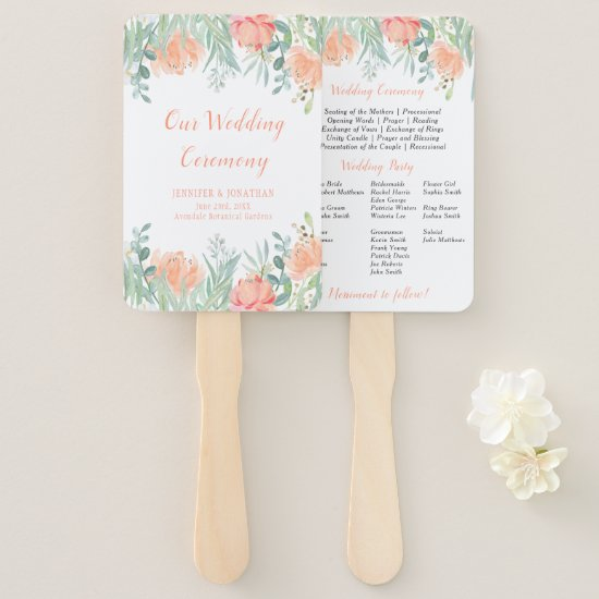 Peach and Green Watercolor Floral Program Fans