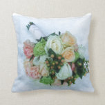 Peach and Ivory Roses Wedding Bouquet Pillow