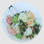 Peach and Ivory Roses Wedding Bouquet Stickers