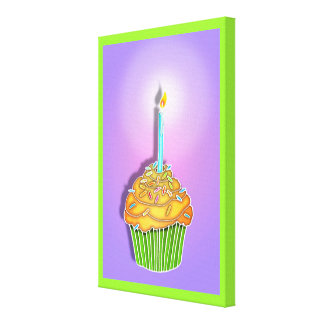 Peach and Lavender BIRTHDAY CUPCAKE & CANDLE Galle Gallery Wrapped Canvas