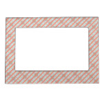 Peach And Marble Stripes Pattern Magnetic Photo Frame