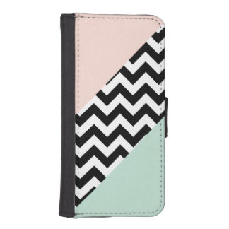 Peach and Mint Color Block Chevron iPhone SE/5/5s Wallet Case