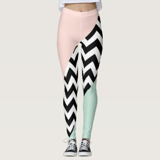 Peach and Mint Color Block Chevron Leggings