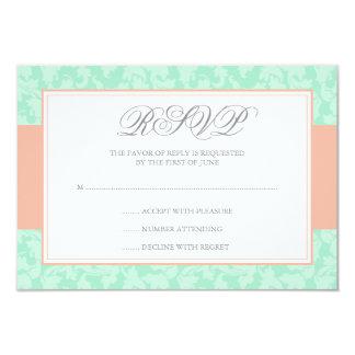 Peach and Mint Damask Swirl Wedding RSVP Card