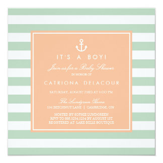 Peach and Mint Nautical Baby Shower Invitation