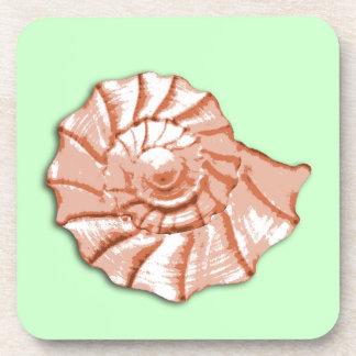 Peach and Mint Seashell Coaster