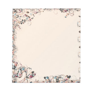 Peach and Multicolor Colorful Floral Collage Note Pad