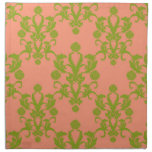 Peach and Olive Green Damask Napkin