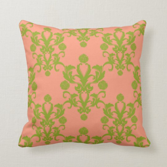 Peach and Olive Green Damask Vintage Style Throw Pillow