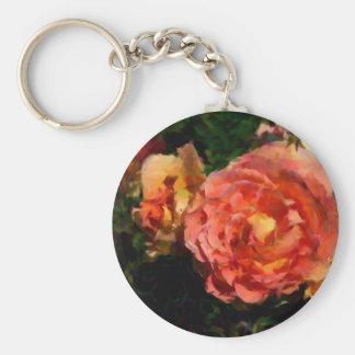 Peach And Orange Products Basic Round Button Keychain