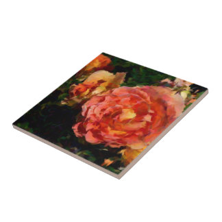 Peach And Orange Products Small Square Tile