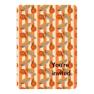 Peach and  pie patten personalized invitations