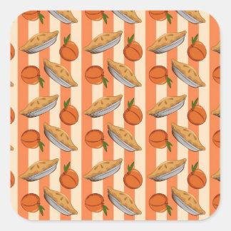 Peach and  pie patten square sticker